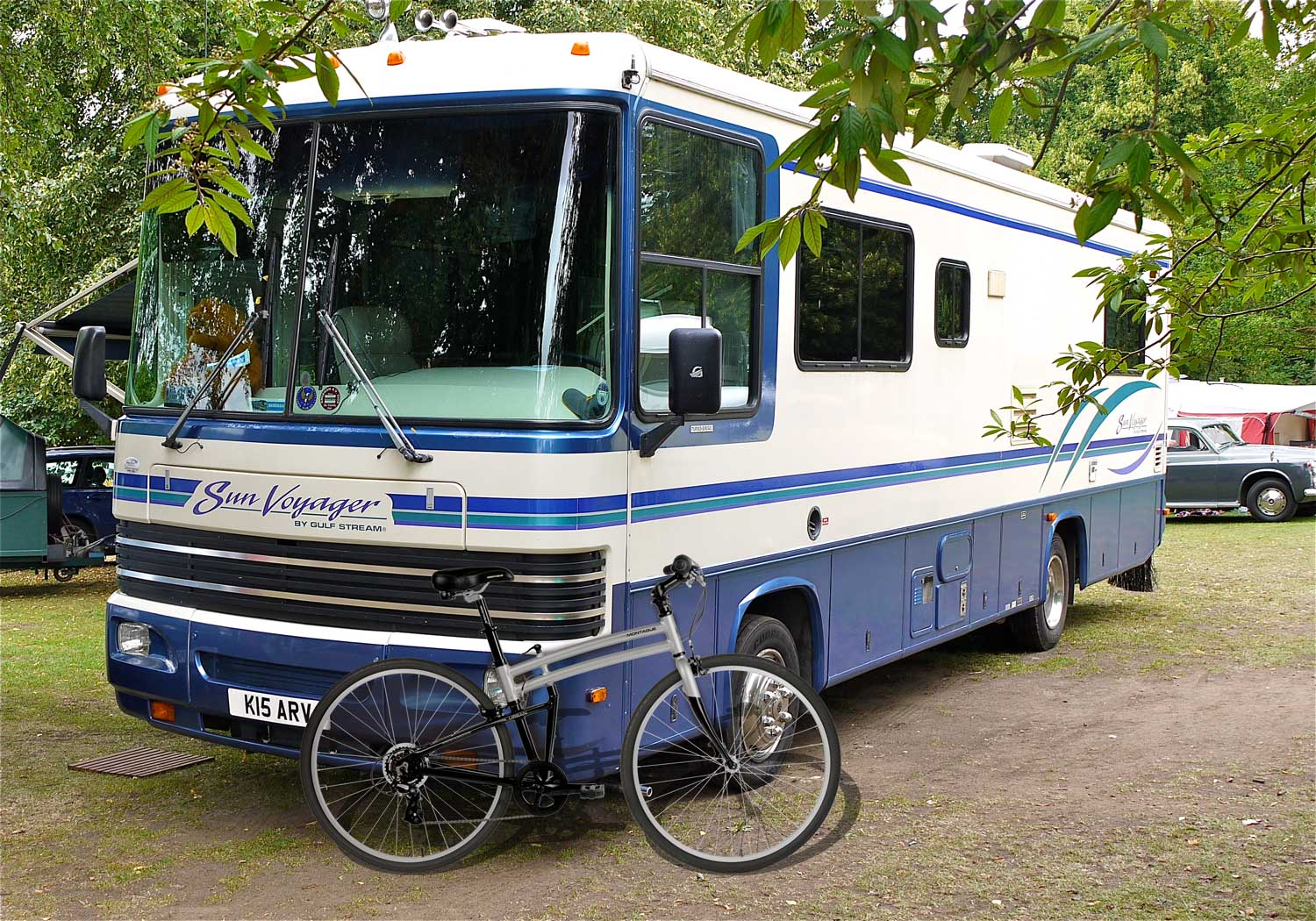Crosstown Folding Bike Near RV Camper