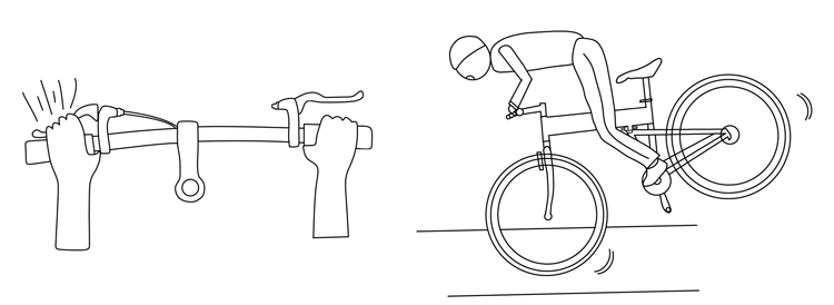 Fig. 8. Do not over-use the front-wheel brake; the rear wheel can lift and cause you to lose control.