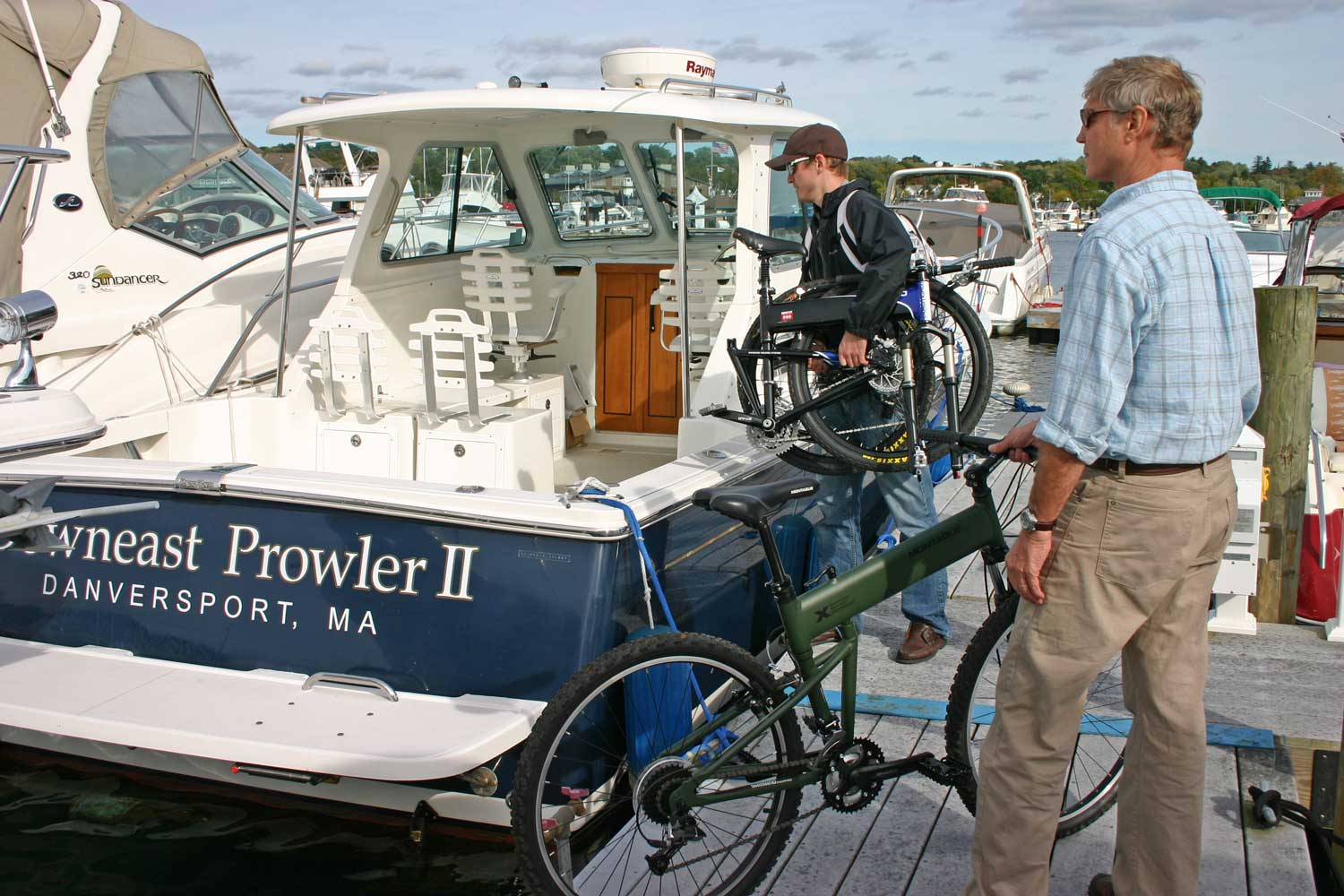 Two Folding Bikes in Boatyard